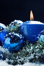 Preview iPhone wallpaper Christmas decoration, candles, balls, snow, blue style