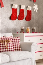 Christmas home decoration, sofa, socks, cookies, Christmas tree, holiday lights