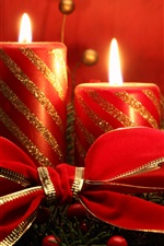 Preview iPhone wallpaper Christmas theme, red candles, flame