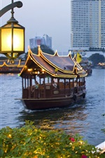 Preview iPhone wallpaper City, dusk, boats, river, shore, street, people, Bangkok, Thailand