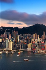 Preview iPhone wallpaper City view, Hong Kong, skyscrapers, sea, yachts, mountains, clouds