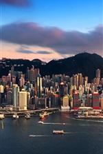 미리보기 iPhone 배경 화면 시티 뷰, 홍콩, 고층 빌딩, 바다, 요트, 산, 구름