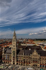 City view, houses, street, clouds, Munich, Germany