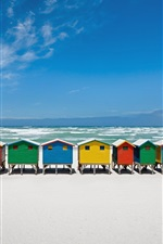 Preview iPhone wallpaper Coast, beach, sea, resort, colorful wooden houses