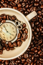 Preview iPhone wallpaper Coffee beans, cup, time watch