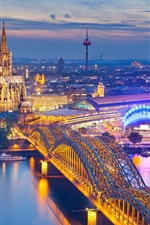 Preview iPhone wallpaper Cologne, Germany, Cathedral, night, city, houses, bridge, river, illumination