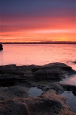 Preview iPhone wallpaper Coyle Park, sunset, red sky, lake, New Zealand, Auckland