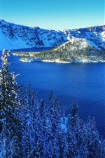 Preview iPhone wallpaper Crater Lake National Park, USA, mountains, snow, trees, island