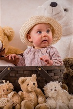 Preview iPhone wallpaper Cute baby have lot of teddy bears