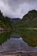 Preview iPhone wallpaper Dawn, trees, mountains, lake, water reflection, clouds, fog, Colorado, USA