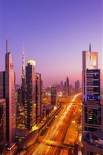 Dubai city night views, skyscrapers, road, traffic, lights