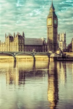 Preview iPhone wallpaper England, London, Big Ben, river Thames, Westminster bridge, palace, clouds