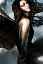 Preview iPhone wallpaper Fantasy angel, girl, black wings