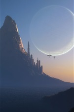 Preview iPhone wallpaper Fantasy world, art design, mountain, city, planet, spaceships, dusk