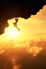 Preview iPhone wallpaper Fatal climb, silhouette, sunset, clouds, cliff, sports