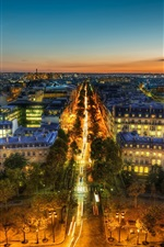 Preview iPhone wallpaper France, Paris, Eiffel Tower, panorama, city night view, lights, street