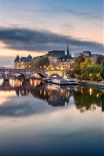 Preview iPhone wallpaper France, Paris, bridge, river, boats, houses, clouds, dusk