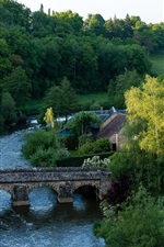 Preview iPhone wallpaper France, village, trees, bridge, river, house