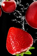 Preview iPhone wallpaper Fresh fruit, cherries and strawberries, water, black background