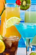 Fruit drinks, glass cups, kiwi, melon, orange, coconut