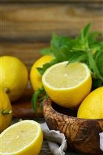 Preview iPhone wallpaper Fruit lemon, mint leaves