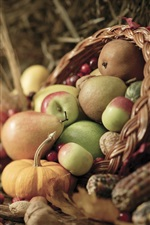 Preview iPhone wallpaper Fruits and vegetables, apples, pears, berries, corn, pumpkins, nuts