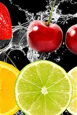 Preview iPhone wallpaper Fruits in the water, cherries, strawberries, lemon
