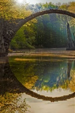 Preview iPhone wallpaper Garden, trees, pond, autumn, stone arch, sun rays