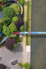 Preview iPhone wallpaper Germany, North Rhine-Westphalia, top view, channel, bridge, river, trees