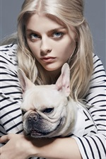 Preview iPhone wallpaper Girl and French bulldog