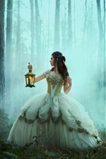 Preview iPhone wallpaper Girl in forest, lantern, retro dress, Bella Kotak