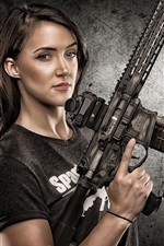 Preview iPhone wallpaper Girl use submachine gun, weapons