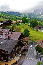 Grindelwald, Switzerland, town, road, valley, mountains, trees, clouds
