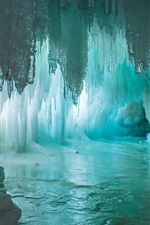 Preview iPhone wallpaper Grotto, stalactites, stalagmites, ice, cave