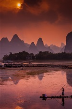 Preview iPhone wallpaper Guangxi, Li River, Chinese beautiful landscape, mountains, sun, boats