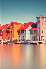 Preview iPhone wallpaper Holland, river, houses