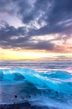 Preview iPhone wallpaper Iceland, sea, ice, shore, clouds, sunset