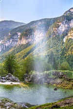 Preview iPhone wallpaper Italy beautiful nature landscape, waterfalls, mountains, pond