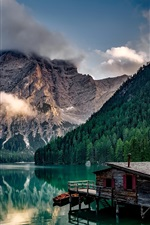 Preview iPhone wallpaper Italy, lake, house, pier, mountains, trees, clouds