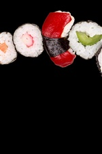Preview iPhone wallpaper Japanese cuisine, rice rolls, sushi, seafood, black background