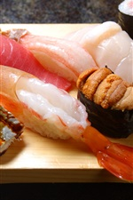 Preview iPhone wallpaper Japanese cuisine, sushi, seafood, shrimp, caviar