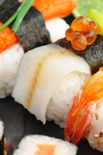 Preview iPhone wallpaper Japanese food, sushi, seafood, lime, red caviar, rice rolls