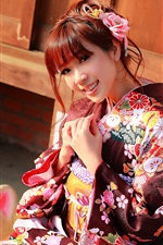Preview iPhone wallpaper Japanese girl beautiful kimono