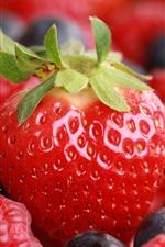 Juicy fruits, strawberries, raspberries, blueberries