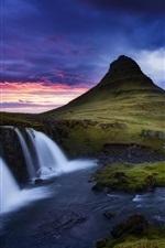 Preview iPhone wallpaper Kirkjufell volcano, mountain, waterfalls, stream, Iceland