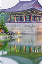 Preview iPhone wallpaper Korea, park, pavilion, lake, trees
