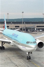 Preview iPhone wallpaper Korean Air, airport, Boeing 777 plane