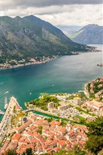 Preview iPhone wallpaper Kotor Bay, Montenegro, river, mountains, city, houses, clouds