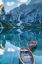 Preview iPhone wallpaper Lake, mountains, boats, water reflection