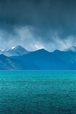 Preview iPhone wallpaper Lake, mountains, clouds, blue sky, dusk, bird flying